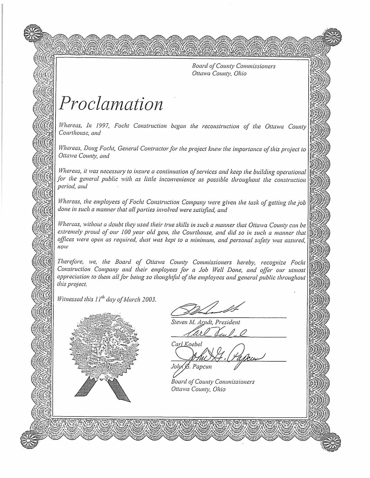 Focht Proclamation